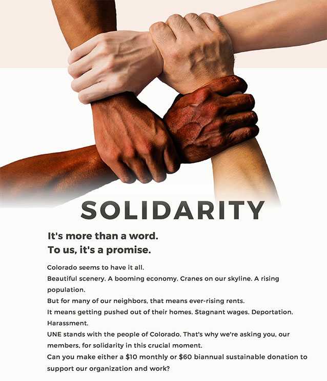 United for A New Economy - become a Solidarity Member for less than 35¢ a day