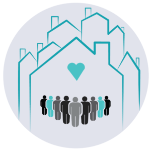 Graphic illustration of people standing in front of houses with a heart above them