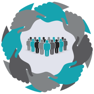 Graphic illustration of arms encircling a group of people standing in the center